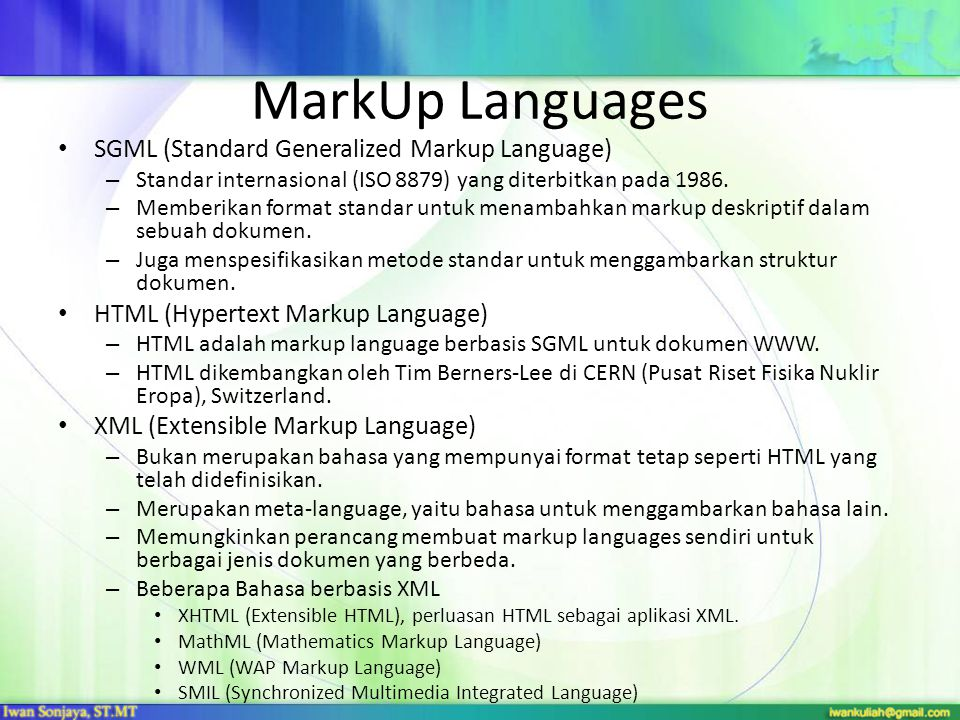 MarkUp Languages SGML (Standard Generalized Markup Language)