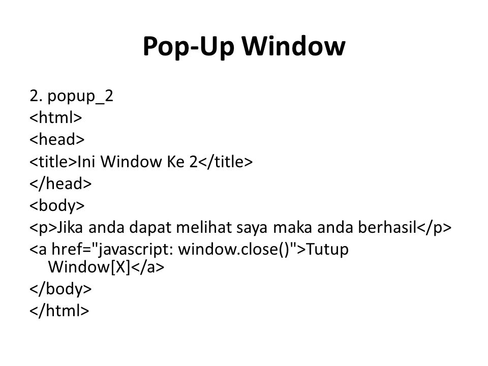 Pop-Up Window