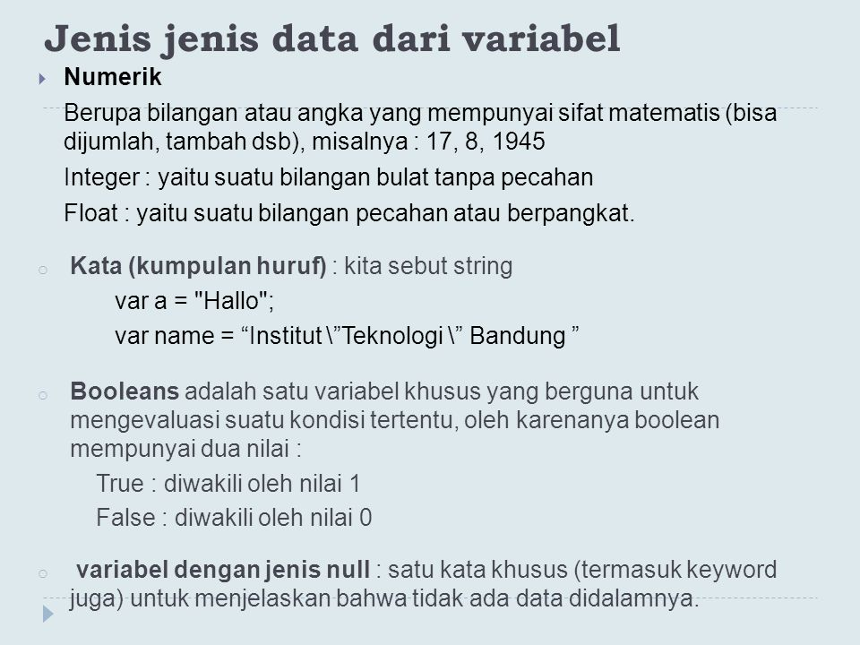 Jenis jenis data dari variabel