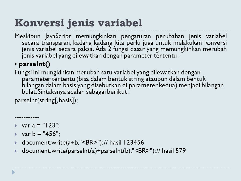 Konversi jenis variabel