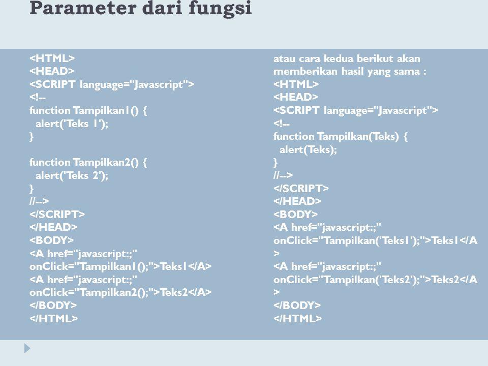 Parameter dari fungsi <HTML> <HEAD>