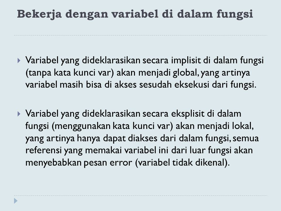 Bekerja dengan variabel di dalam fungsi