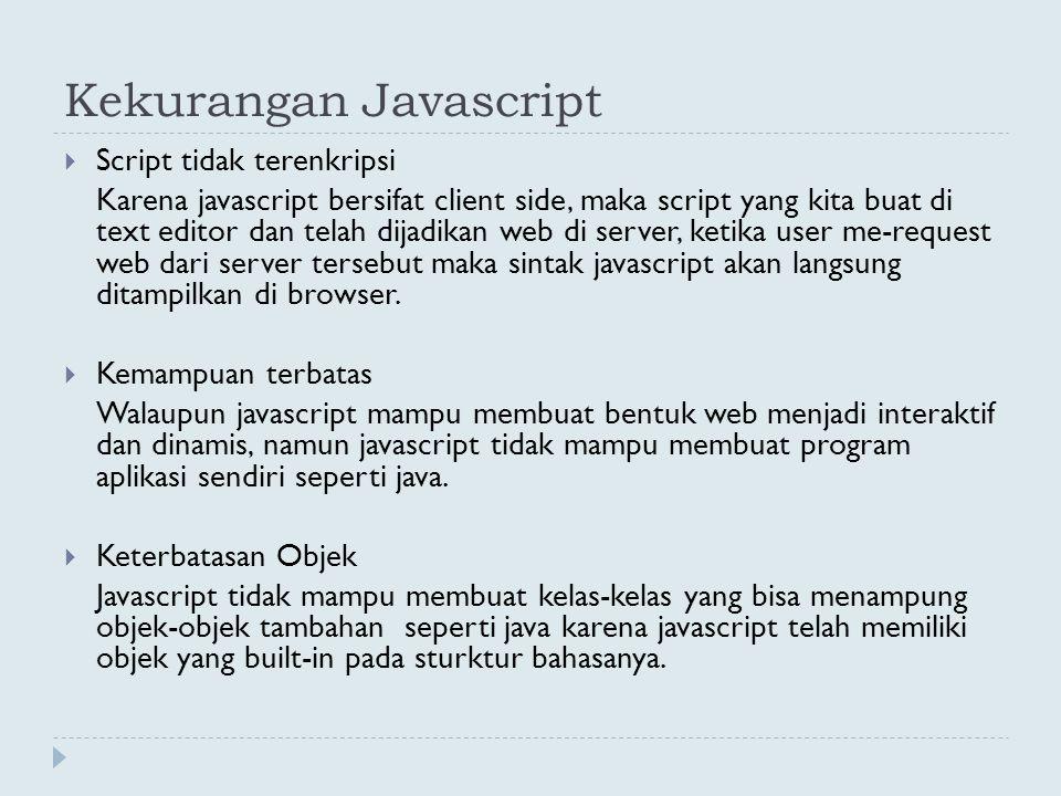 Kekurangan Javascript