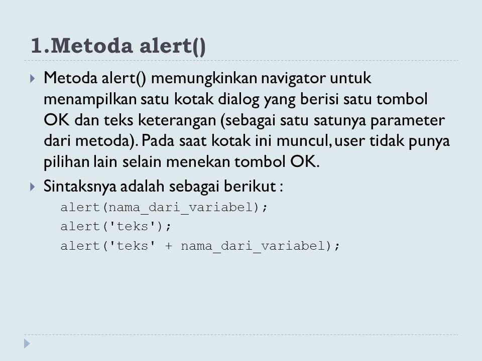 1.Metoda alert()