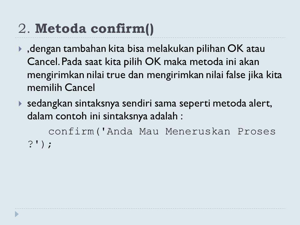 2. Metoda confirm()