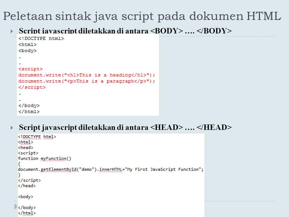 Peletaan sintak java script pada dokumen HTML
