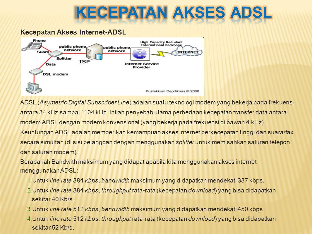 KECEPATAN AKSES ADSL Kecepatan Akses Internet-ADSL
