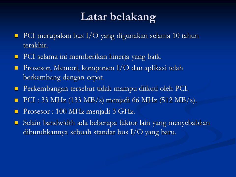 Latar belakang PCI merupakan bus I/O yang digunakan selama 10 tahun terakhir. PCI selama ini memberikan kinerja yang baik.