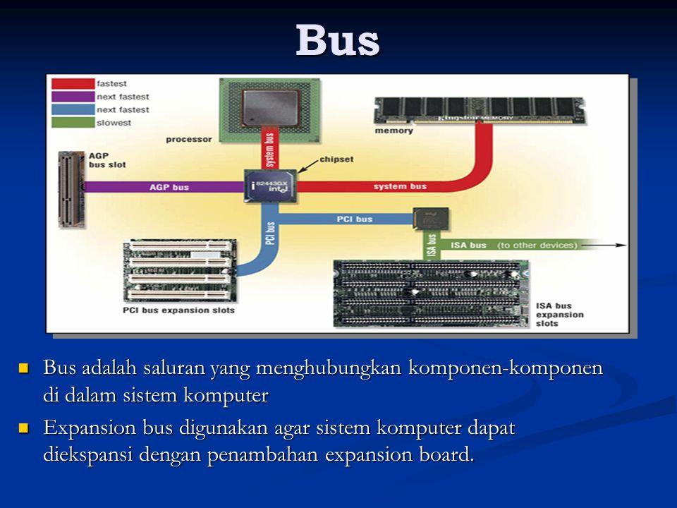 Bus Bus adalah saluran yang menghubungkan komponen-komponen di dalam sistem komputer.