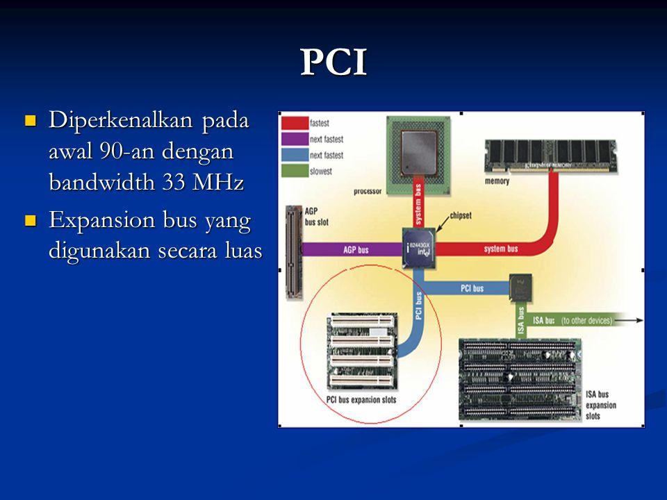 PCI Diperkenalkan pada awal 90-an dengan bandwidth 33 MHz