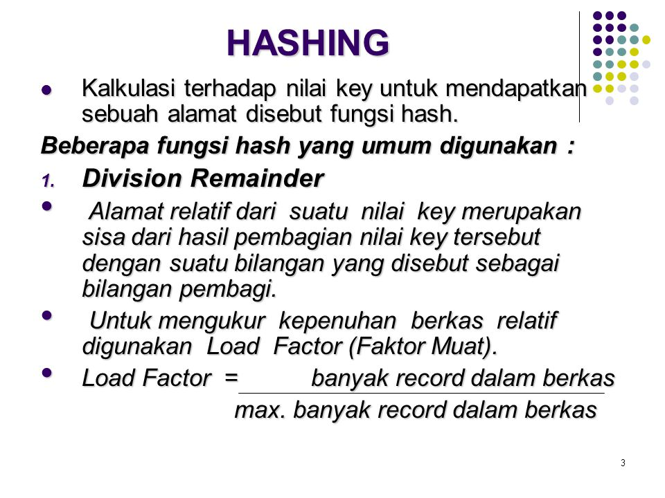 HASHING Division Remainder