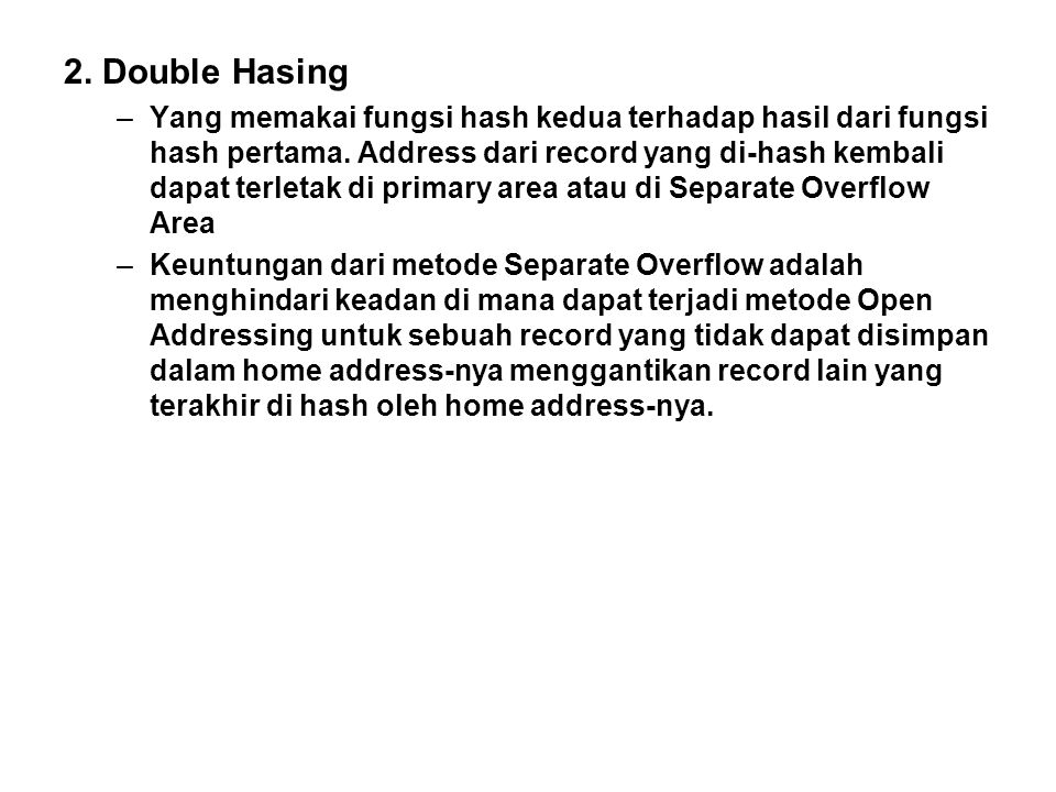 2. Double Hasing