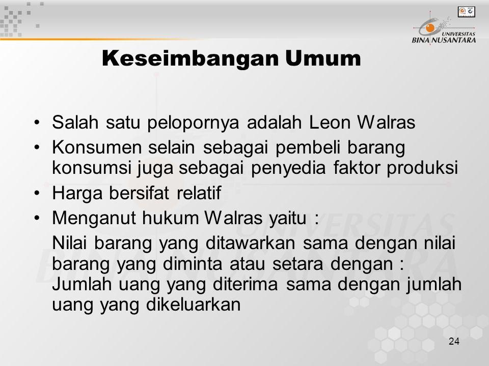 Keseimbangan Umum Salah satu pelopornya adalah Leon Walras