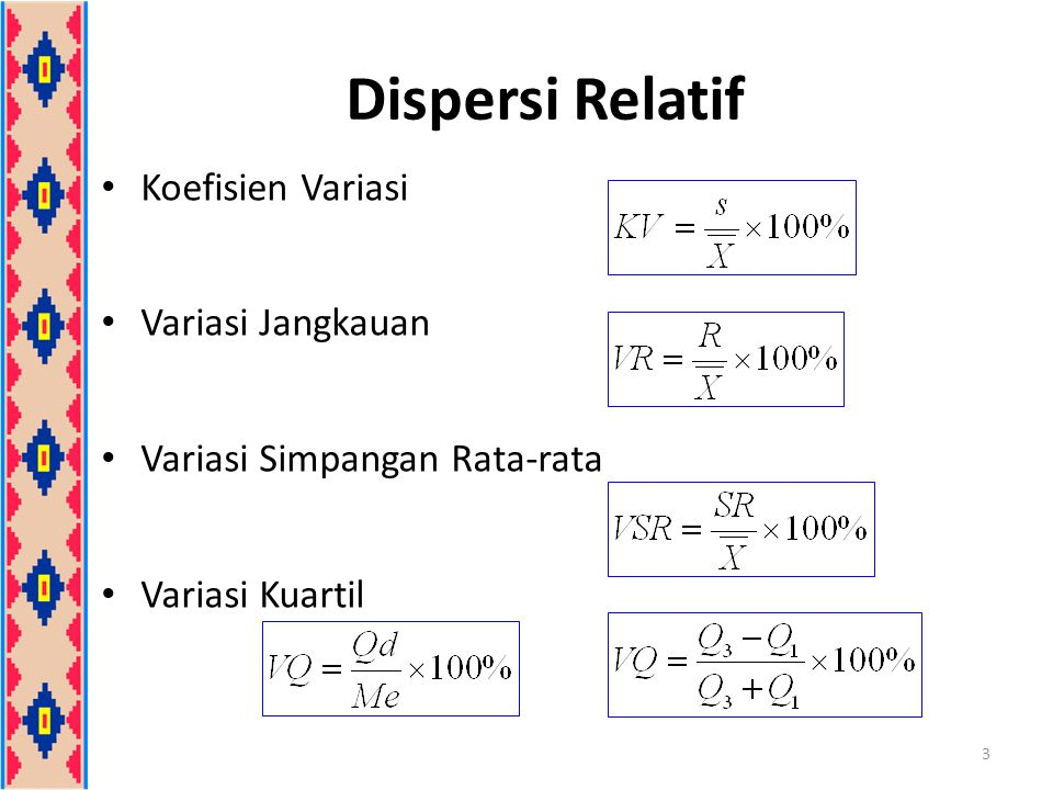 Dispersi Relatif Koefisien Variasi Variasi Jangkauan