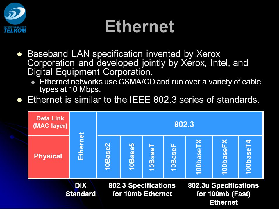 Ethernet Baseband LAN specification invented by Xerox Corporation and developed jointly by Xerox, Intel, and Digital Equipment Corporation.