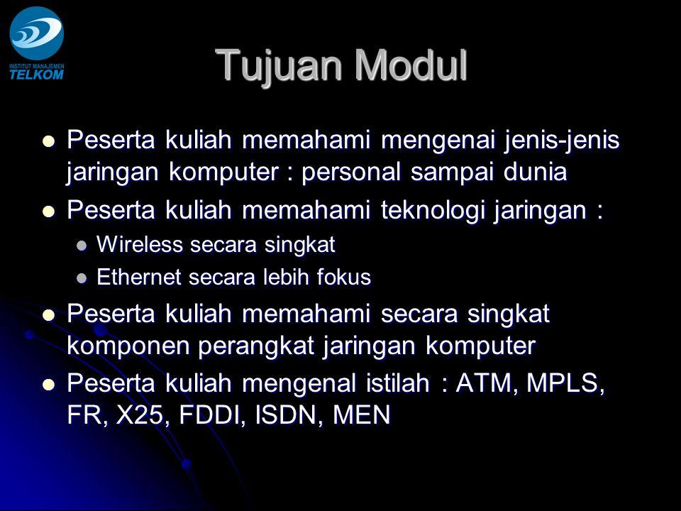 Tujuan Modul Peserta kuliah memahami mengenai jenis-jenis jaringan komputer : personal sampai dunia.