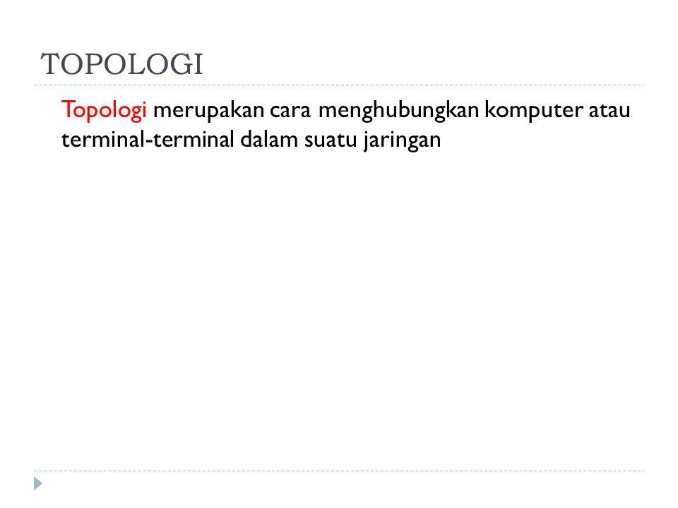 TOPOLOGI Topologi merupakan cara menghubungkan komputer atau terminal-terminal dalam suatu jaringan.