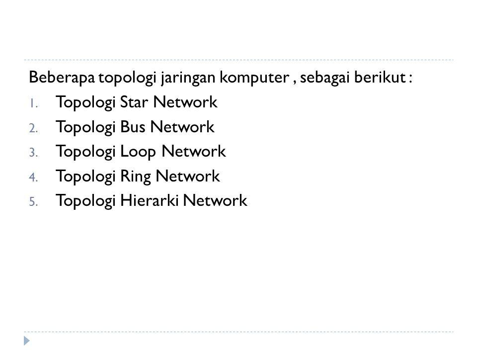 Beberapa topologi jaringan komputer , sebagai berikut :