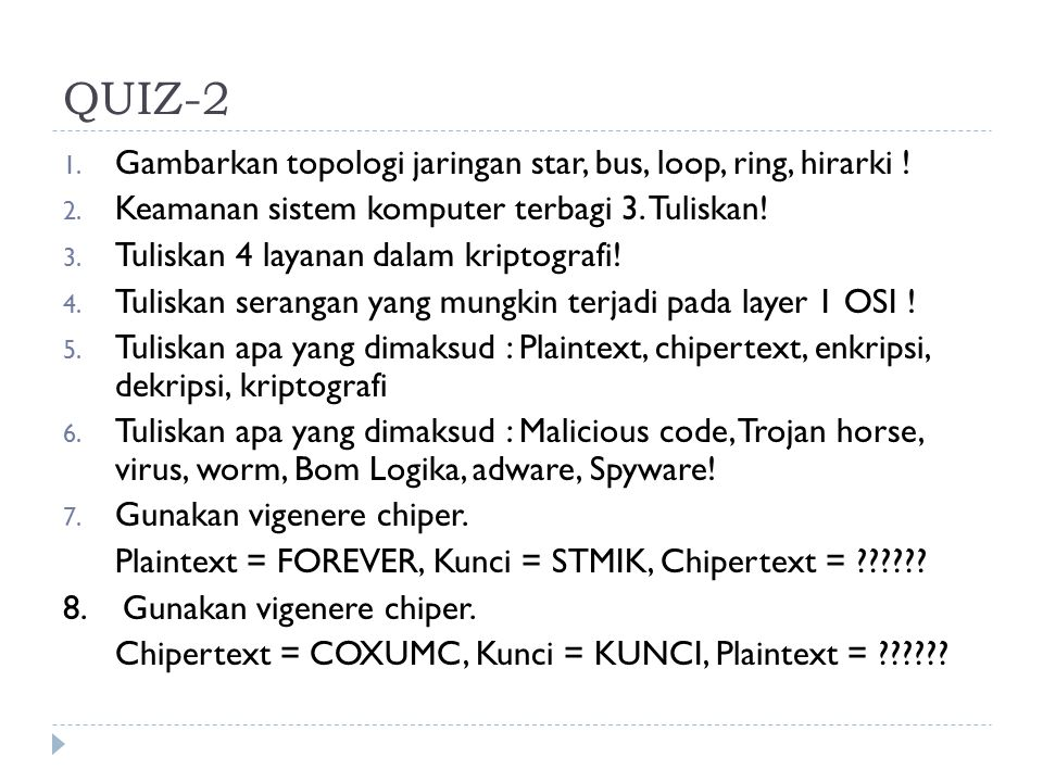 QUIZ-2 Gambarkan topologi jaringan star, bus, loop, ring, hirarki !