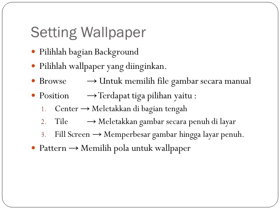Setting Wallpaper Pilihlah bagian Background