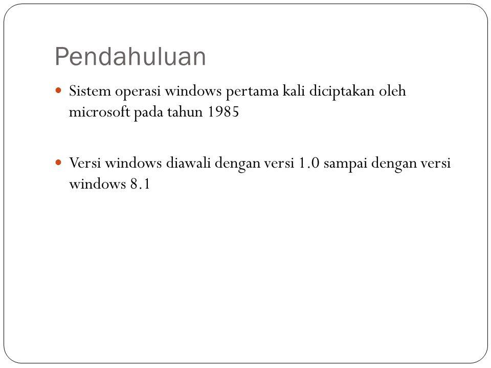 Pendahuluan Sistem operasi windows pertama kali diciptakan oleh microsoft pada tahun 1985.