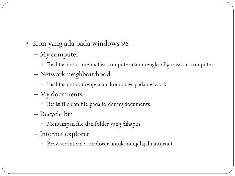 Icon yang ada pada windows 98