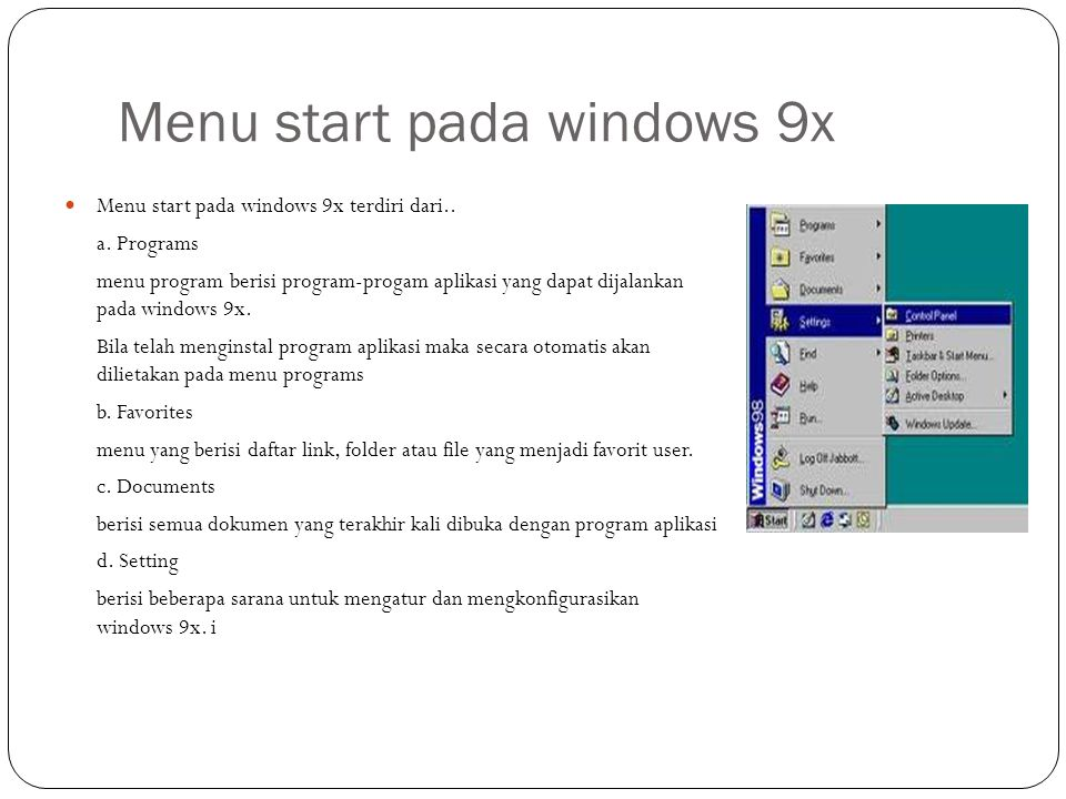 Menu start pada windows 9x