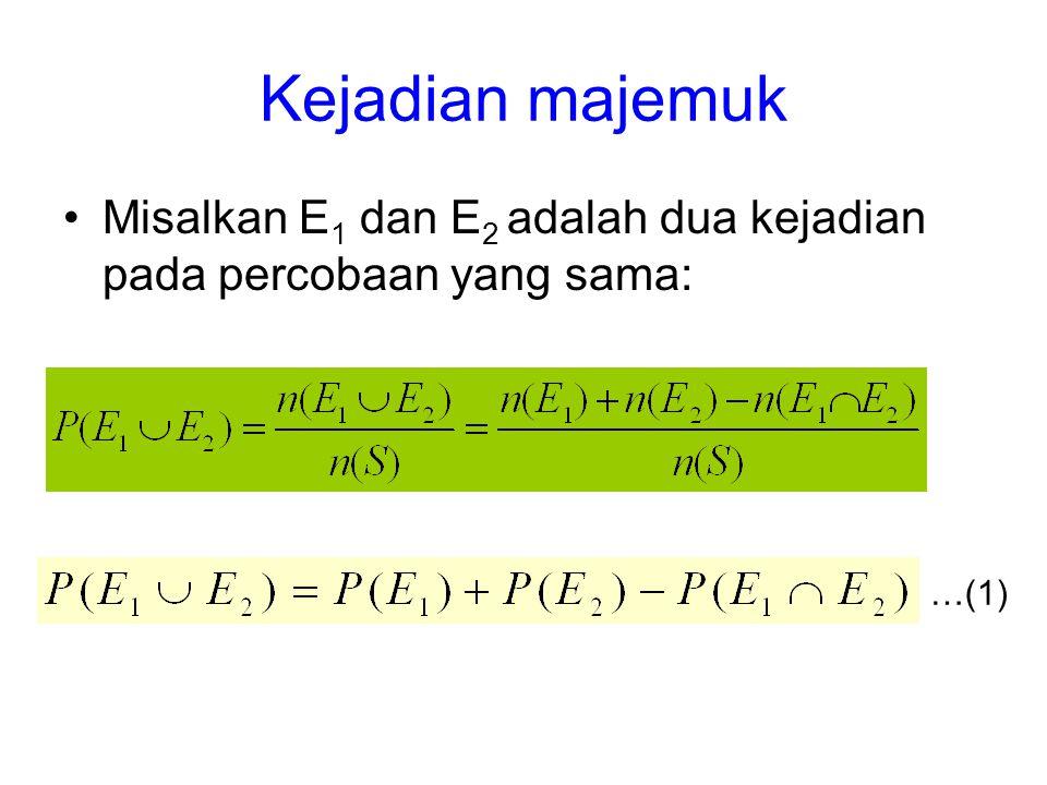 Kejadian majemuk Misalkan E1 dan E2 adalah dua kejadian pada percobaan yang sama: …(1)