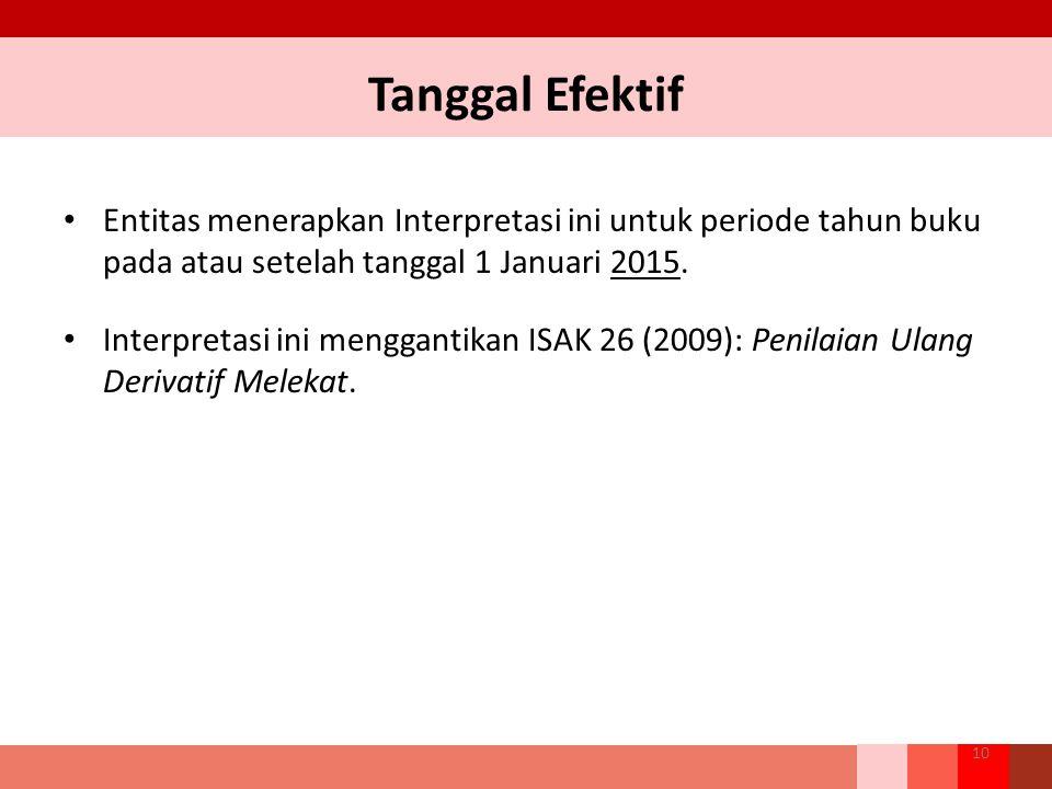 Tanggal Efektif Entitas menerapkan Interpretasi ini untuk periode tahun buku pada atau setelah tanggal 1 Januari 2015.