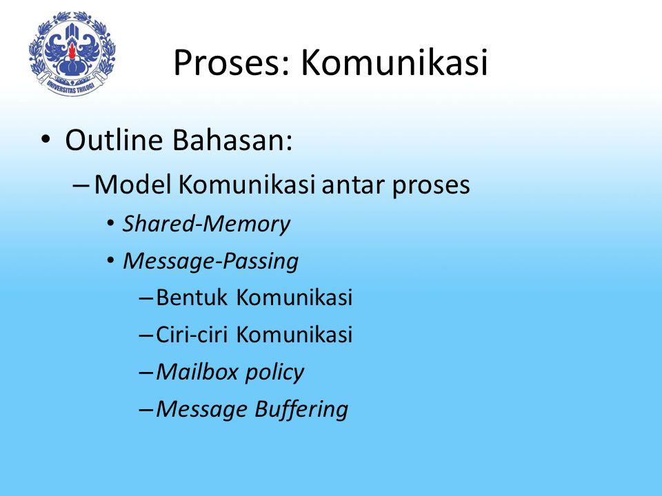 Proses: Komunikasi Outline Bahasan: Model Komunikasi antar proses
