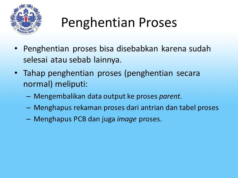 Penghentian Proses Penghentian proses bisa disebabkan karena sudah selesai atau sebab lainnya.