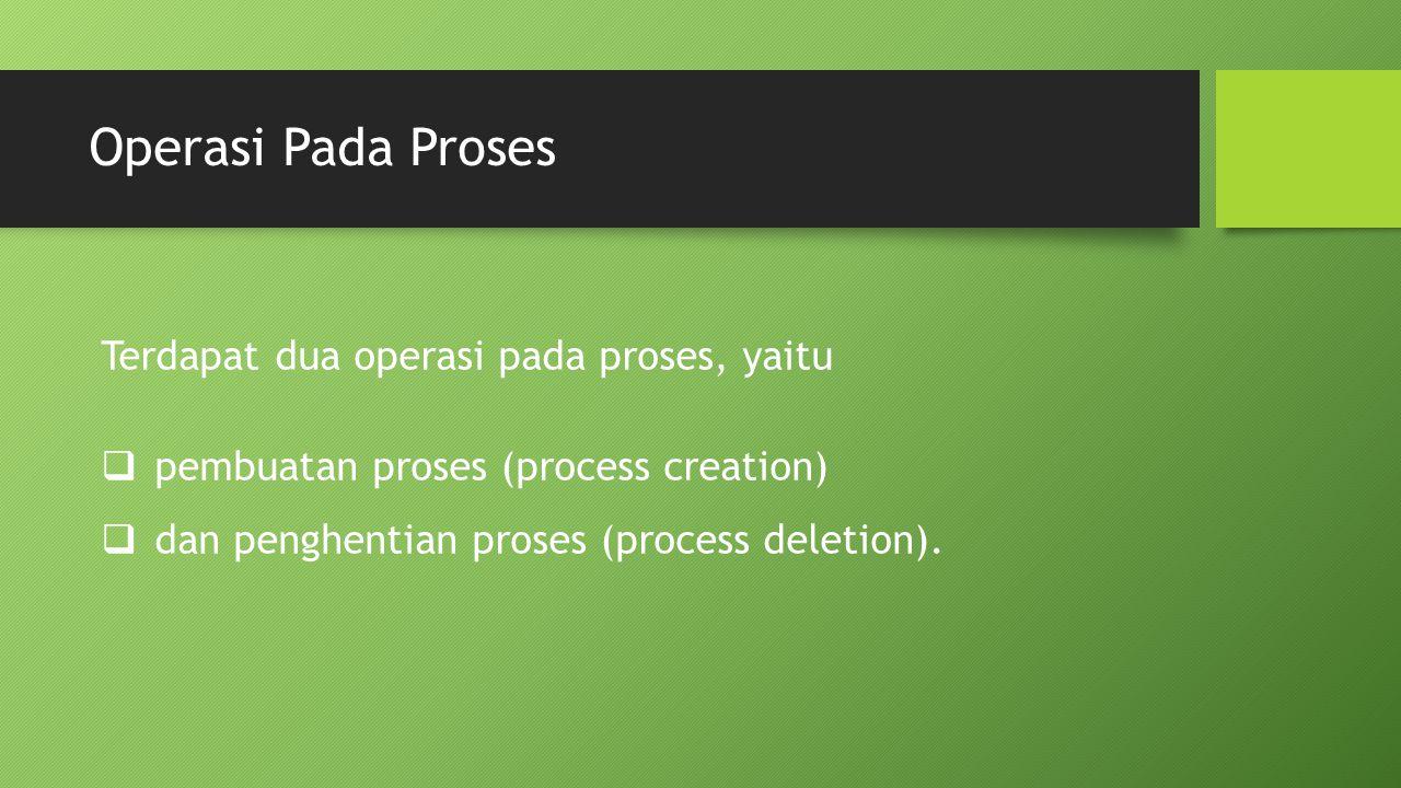 Operasi Pada Proses Terdapat dua operasi pada proses, yaitu
