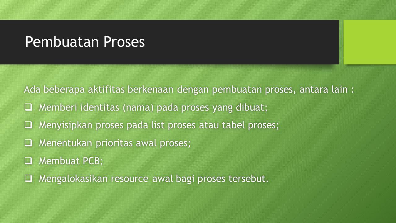 Pembuatan Proses Ada beberapa aktifitas berkenaan dengan pembuatan proses, antara lain : Memberi identitas (nama) pada proses yang dibuat;
