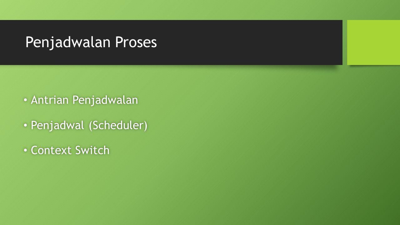 Penjadwalan Proses Antrian Penjadwalan Penjadwal (Scheduler)