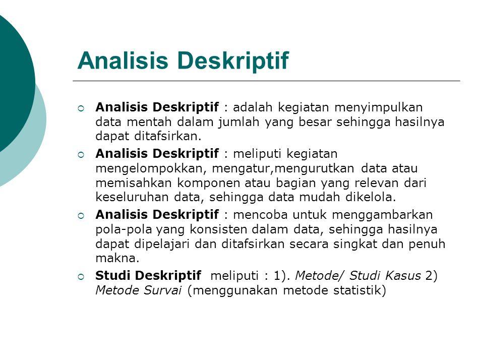 Analisis Deskriptif Analisis Deskriptif : adalah kegiatan menyimpulkan data mentah dalam jumlah yang besar sehingga hasilnya dapat ditafsirkan.