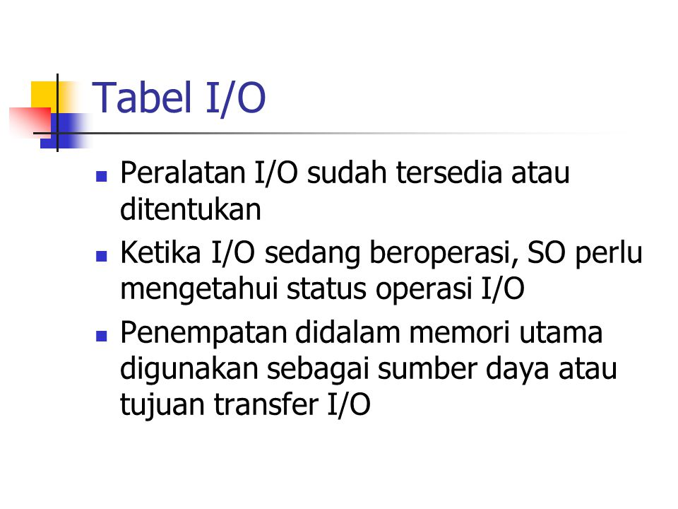 Tabel I/O Peralatan I/O sudah tersedia atau ditentukan