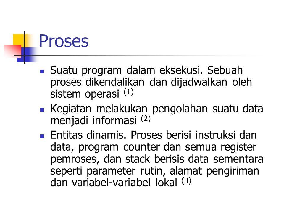 Proses Suatu program dalam eksekusi. Sebuah proses dikendalikan dan dijadwalkan oleh sistem operasi (1)