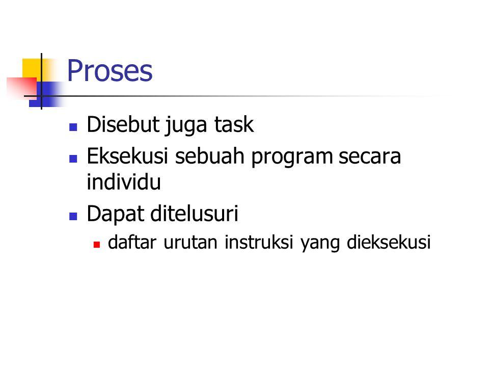 Proses Disebut juga task Eksekusi sebuah program secara individu