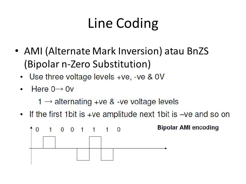 Line Coding AMI (Alternate Mark Inversion) atau BnZS (Bipolar n-Zero Substitution)