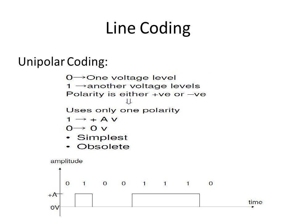 Line Coding Unipolar Coding: