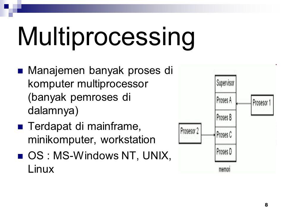 Multiprocessing Manajemen banyak proses di komputer multiprocessor (banyak pemroses di dalamnya) Terdapat di mainframe, minikomputer, workstation.