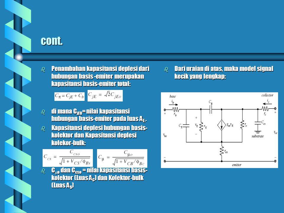 cont. Penambahan kapasitansi deplesi dari hubungan basis -emiter merupakan kapasitansi basis-emiter total: