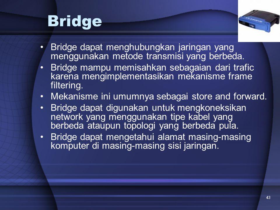 Bridge Bridge dapat menghubungkan jaringan yang menggunakan metode transmisi yang berbeda.