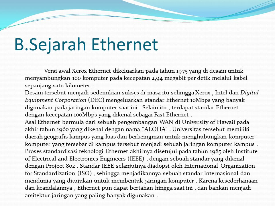 B.Sejarah Ethernet