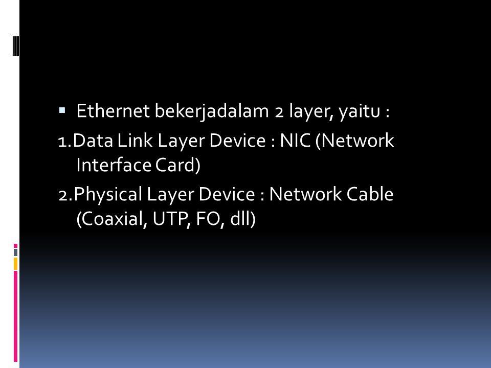 Ethernet bekerjadalam 2 layer, yaitu :