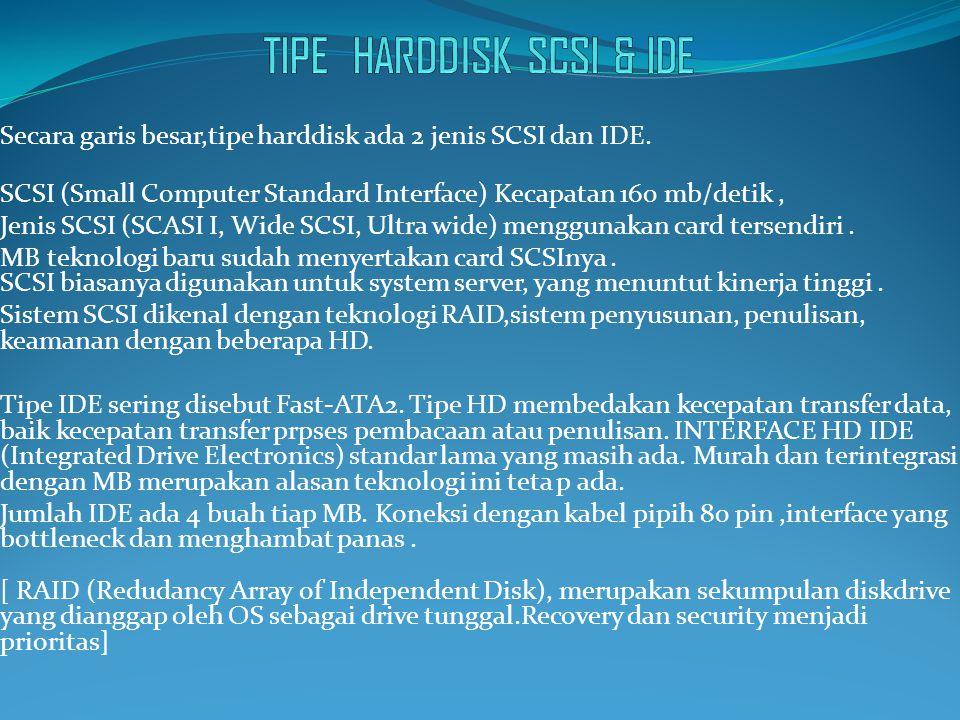 TIPE HARDDISK SCSI & IDE