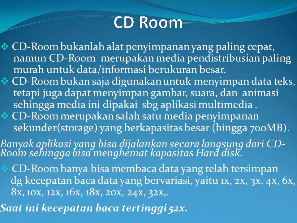 CD Room CD-Room bukanlah alat penyimpanan yang paling cepat,