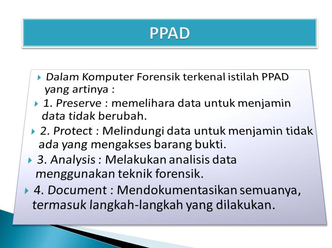 PPAD Dalam Komputer Forensik terkenal istilah PPAD yang artinya :