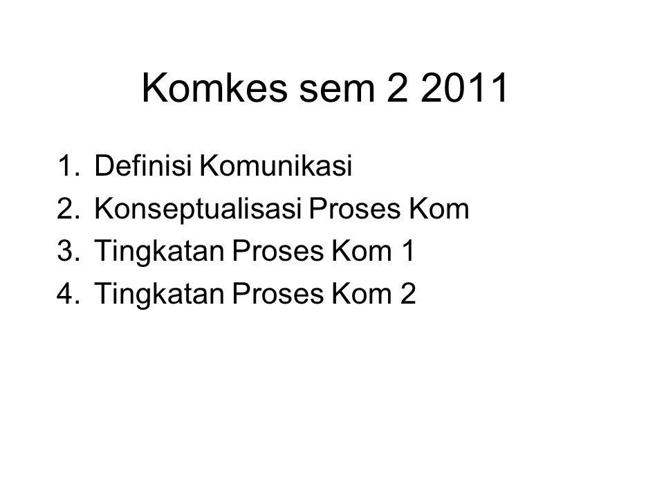 Komkes sem 2 2011 Definisi Komunikasi Konseptualisasi Proses Kom