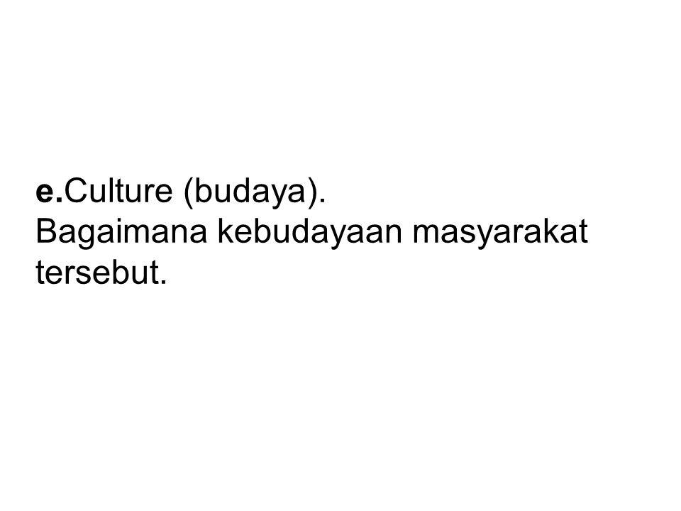 e.Culture (budaya). Bagaimana kebudayaan masyarakat tersebut.